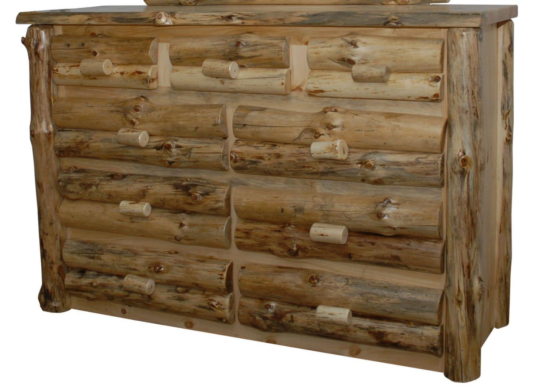 Rustic Pine Half Log 9-Drawer Dresser - Amish Made in USA (Clear Varnish)