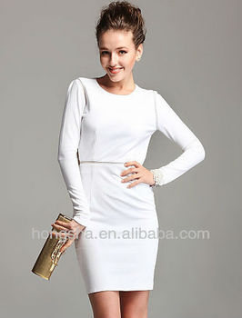 UK Long Sleeve Sexy White Backless Women Midi Bodycon Dress Knee Length  Hss-875 8177c2999