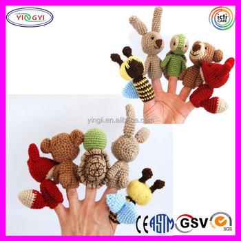 crocheted finger puppets