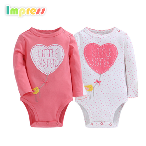 Wholesale long sleeve baby wear clothes pink baby girl romper