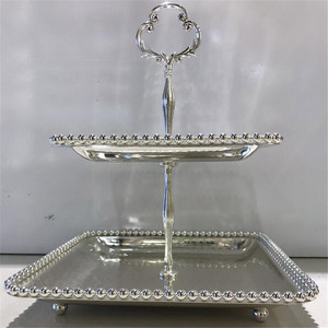 Wedding metal cupcake stands silver beaded cake stand