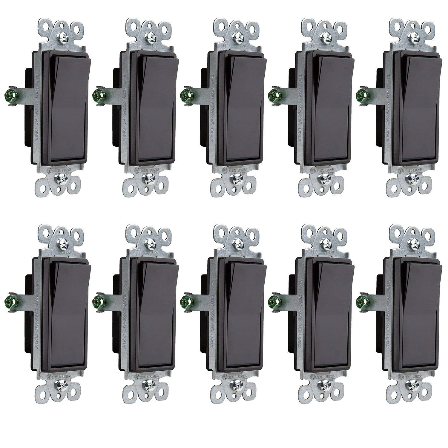 Enerlites Black Rocker Light Switch 91150-BK | Decorator Style, On/Off Paddle Switch, 15 Amp, 120V/277V, AC, Single Pole, 3 Wire, Grounding Screw, Residential and Commercial Grade, UL Listed | 10 Pack