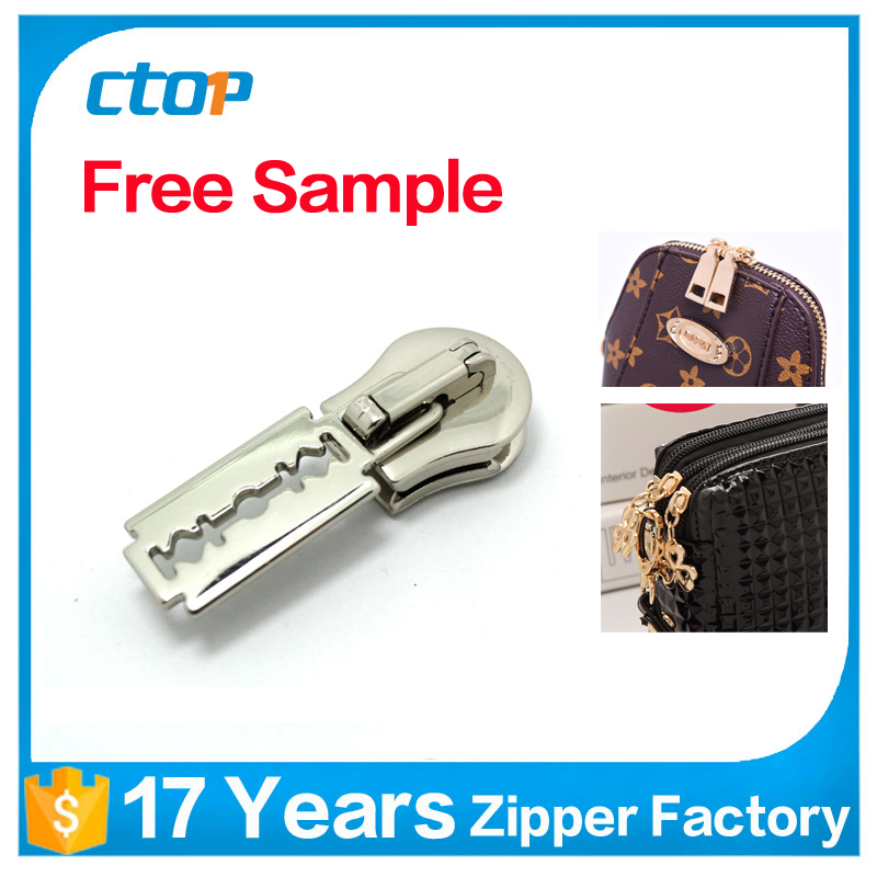 guangzhou factory fancy custom luggage pouch bag frame two sided reversible metal zipper key pin lock slider
