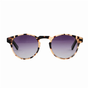 LS6014-C1 2019 new design high quality round acetate frame wooden temple sunglasses