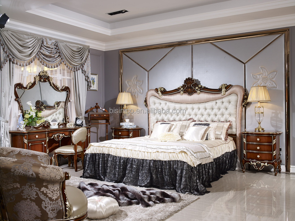 Uae Style Luxury Antique Bed,Luxury Bedroom Furniture Set,Solid Wood ...