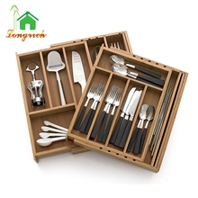 Universal Bamboo Expandable Cutlery Tray Drawer Organizer