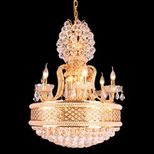 Gold Indian Traditional Chandelier Large Crystal Pendant Light Modern