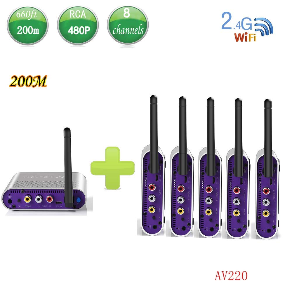 measy AV220-5(15) 2.4GHz 200m Wireless AV Sender TV Audio Video Transmitter Receiver with IR Remote(1TX to 5RX)
