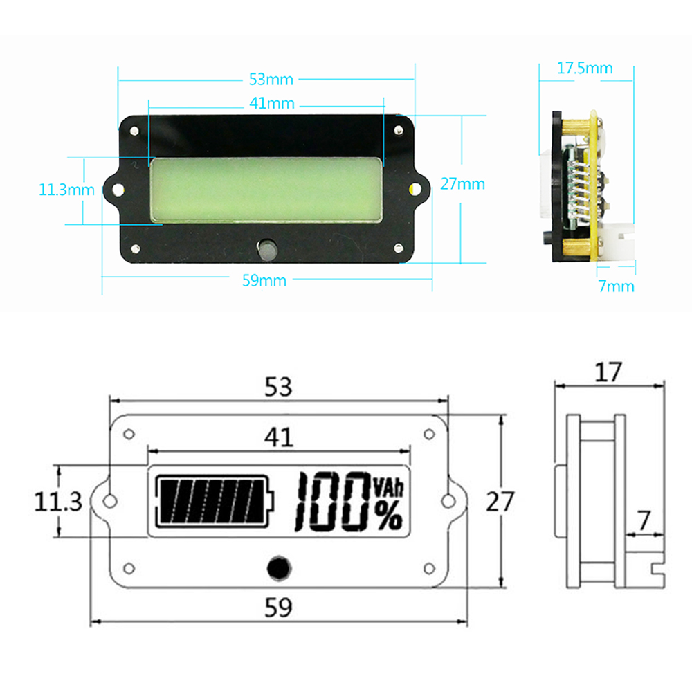 TY02 Battery Capacity Indicator Power Voltage Tester 80V 100A Li-po Li-ion  Household Battery Tester