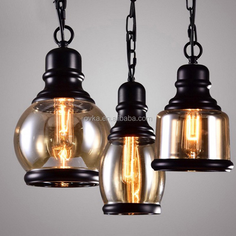 European Industrial Loft Style Vintage Hemp Rope Ceiling Lamp Clear Glass Pendant Light