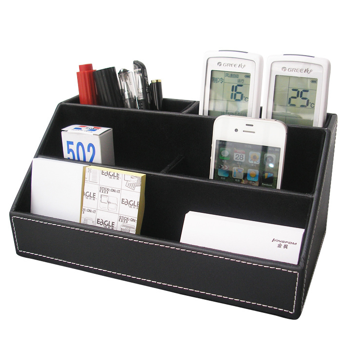 Home office leather desk stationery jewelry makeup sundries miscellaneous items holder container box organizer black A026