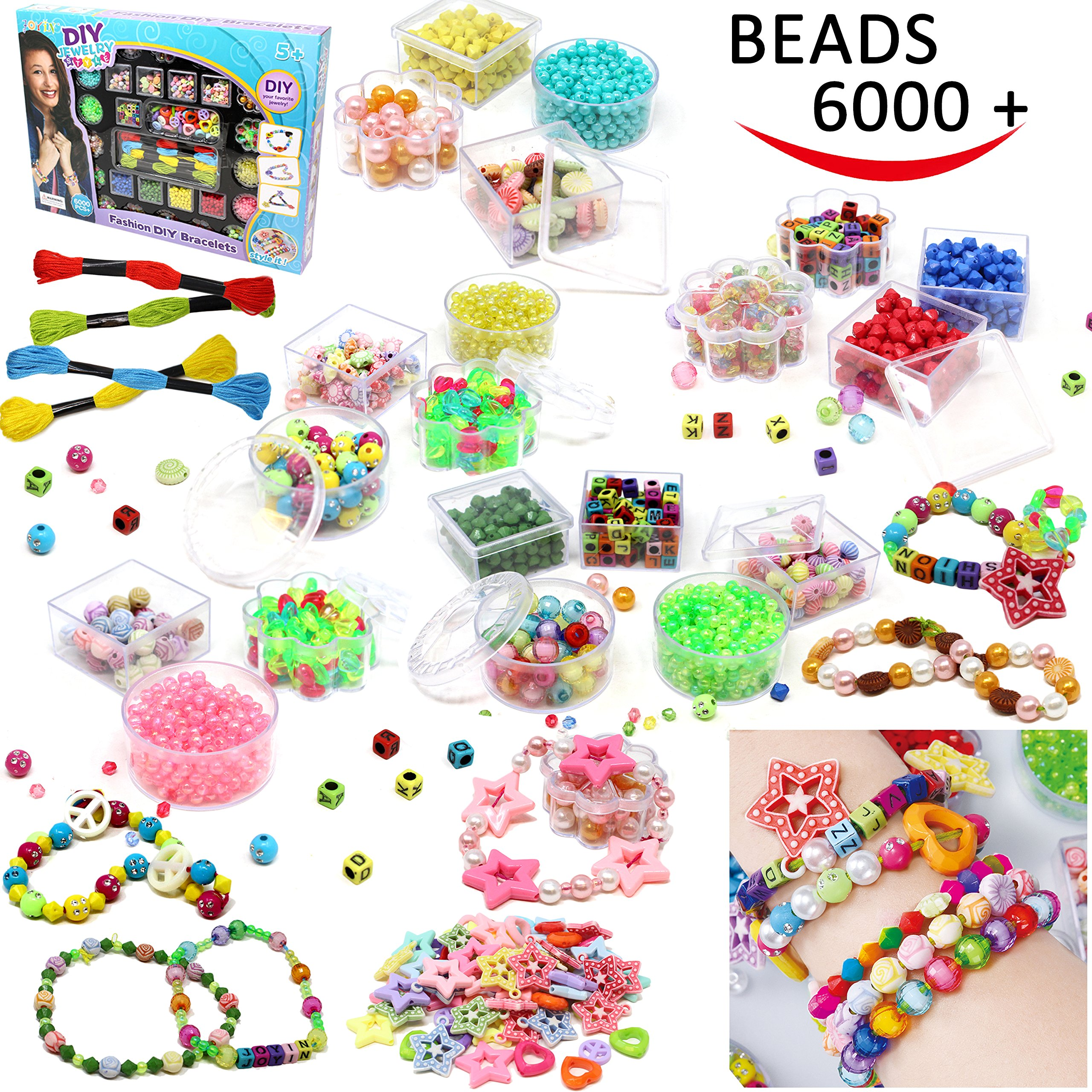 Beads Set 6000 Pieces DIY Beads Kit; 28 Different Types & 4 Color Strings for Jewelry Necklace Making, Friendship Bracelet Making and Valentines Day Children Arts & Crafts Beads by Joyin Toy