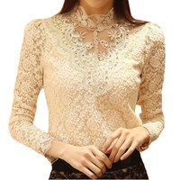 Spring Autumn Fashion Women Lace Crochet Tops Long Sleeve Blouses And Shirts Casual Female Plus Size Blouse