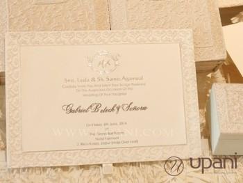ivory wedding invitation box with hand embroidery and pearls - Ivory Wedding Invitations