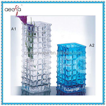 Showpiece For Home Decoration Square Colored Glass Vase