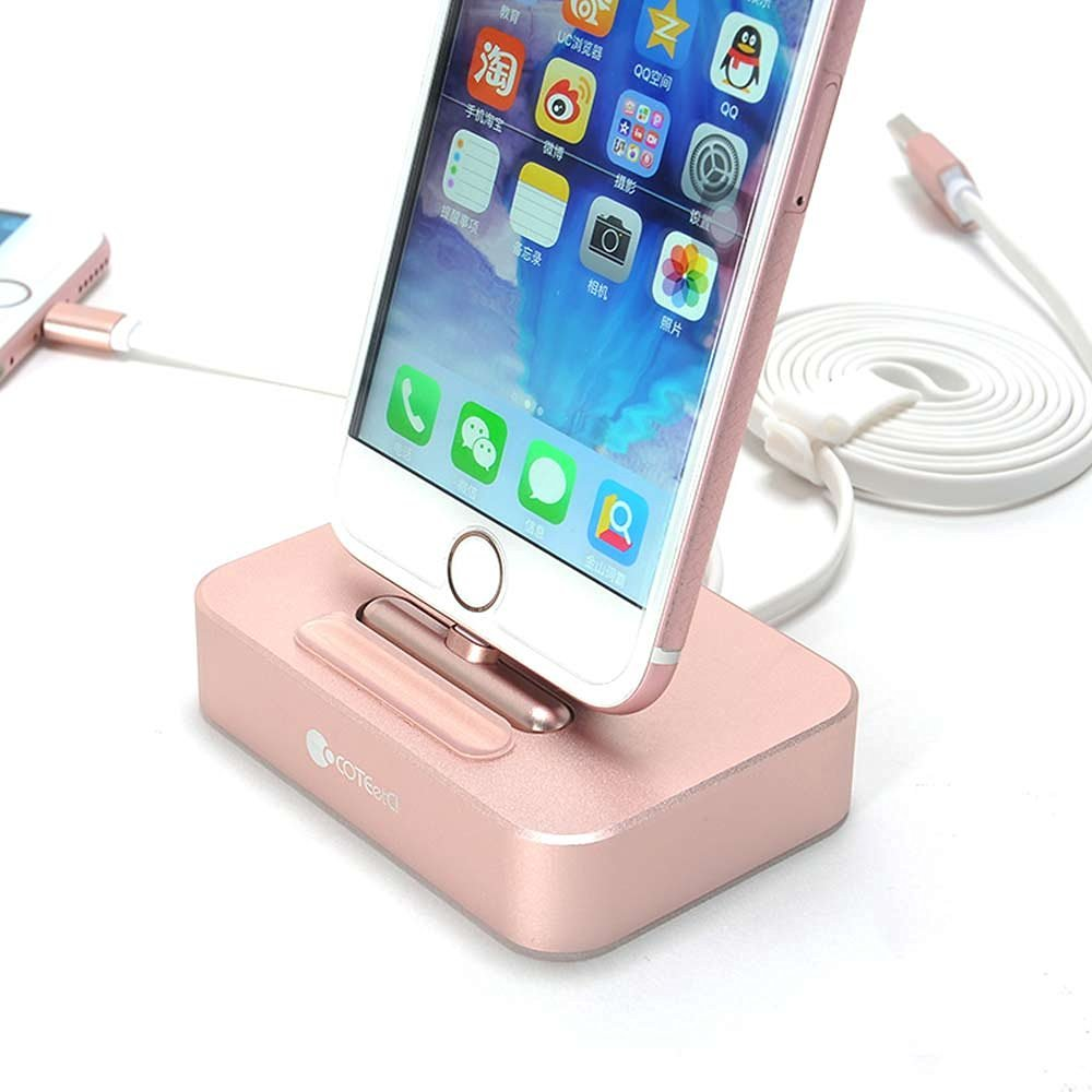 COTEetCI iPhone 7 Charging Dock, Aluminum Charger Station for iPhone 7 / 6S / 6 Plus / iPad mini - 2 in 1 Rose Gold