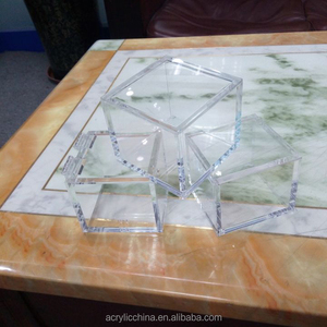 Customized clear acrylic cube,hinged or openable top clear acrylic display cube