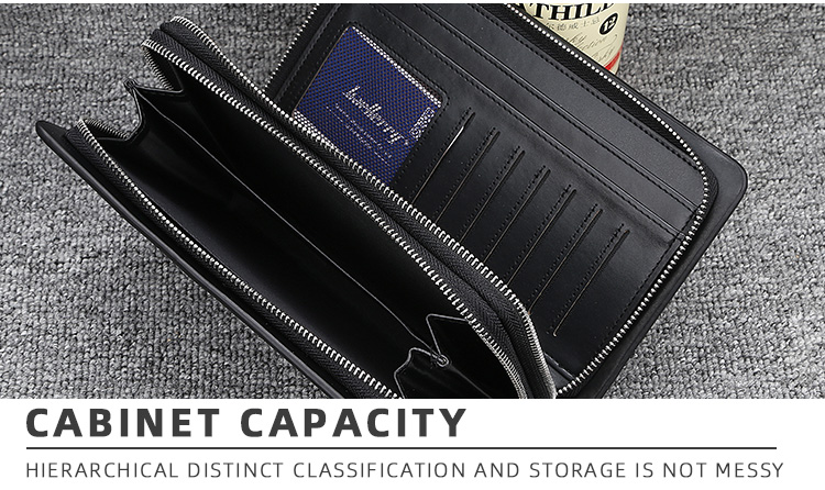 Baellerry 2019 New Large Capacity Multi-function Double Zipper Clutch Wallet For Men With Handle Strap,Male Long Phone Bag