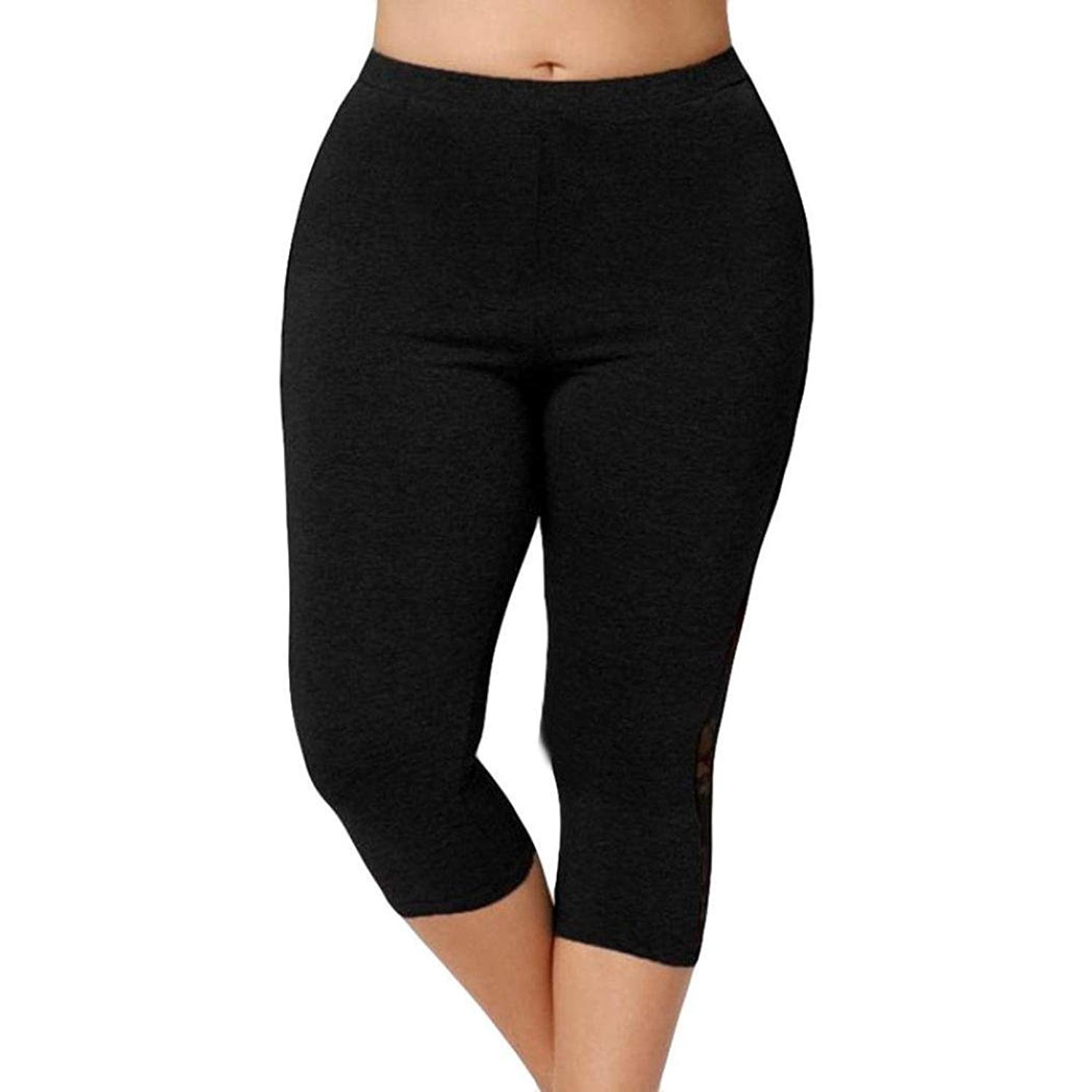 4e07e12b562b80 Get Quotations · Memela Yoga pants Womens Plus Size High Waist Lace  Splicing Leggings Short Yoga Sport Print Pants