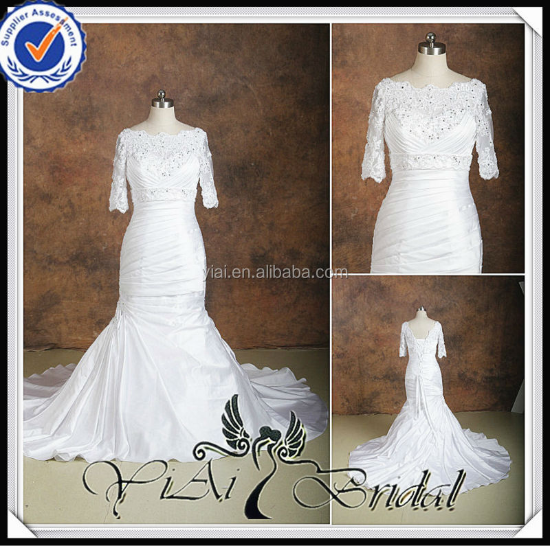 RSW537 Lace Mermaid Boat Neck Long Three Quarter Sleeve Wedding Dress