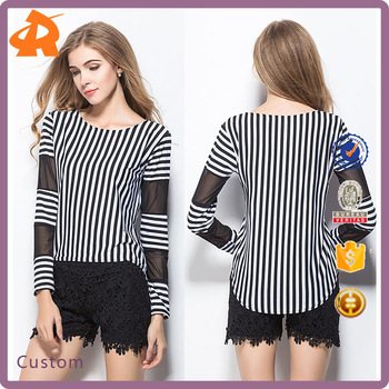 ee85392923 2017 latest fashion women's tee shirt Korean slim vertical stripes  stitching female blouse shirt with mesh