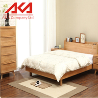 Bedroom Furniture With Storage Light Oak Wood Single Wooden Bed Frame With Drawers