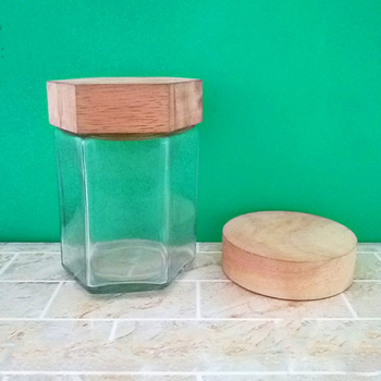 Round Wooden Lids Honey Jar Food Grade Storage Jars Clear Glass Jar
