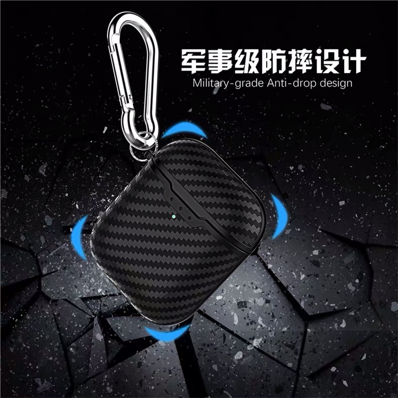 Drop Ship Anti-Lost Silicone Protective Case for Apple AirPods 2,Carbon Fiber Pattern with Hook,Charging Port