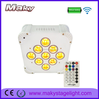 LED par lights 9pcs 18W 6in1 RGBWA UV 6in1 Light Source CE RoHs Certification wireless led up-lighting