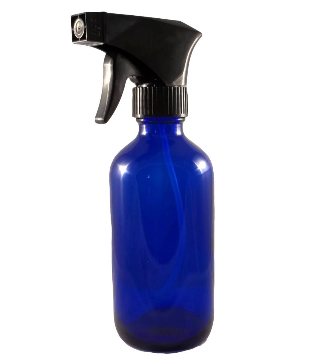 Loving Essential Oils 8 oz Blue Glass Spray Bottle with Trigger Sprayer. Great for Essential Oil, Aromatherapy, Natural Cleaning Products, Homemade DIY Recipes Free Pipettes & Stainless Steel Funnel