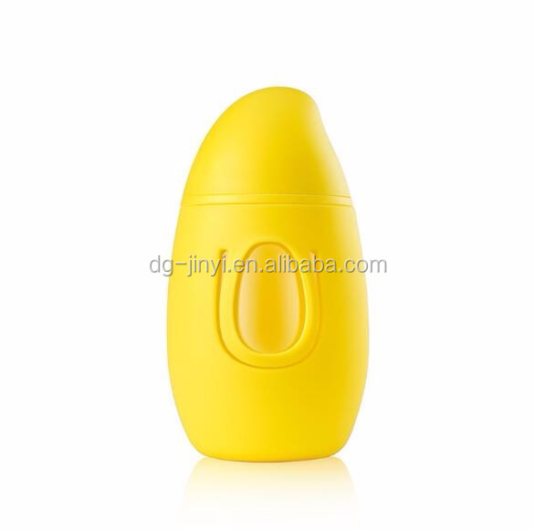 New design Mango shaped glass bottle 300ml glass water bottle with silicone sleeve