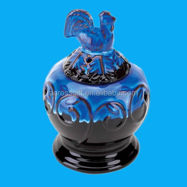 Blue Rooster Motif decorative Oil lamp Warmer for Scented oils