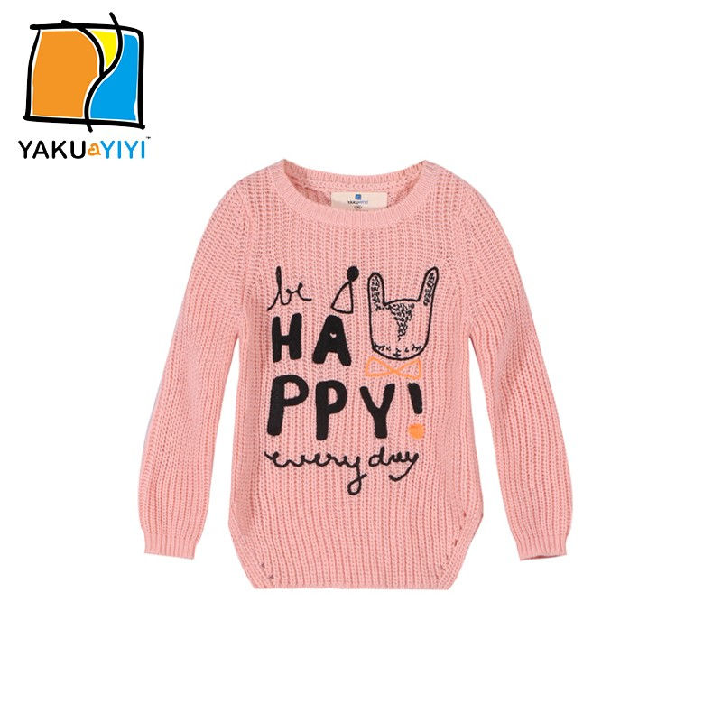 YAKUYIYI Girls Irregular Hem Knitted Sweaters Girls Letters Embroidery Pullover Hoodies for Wholesale