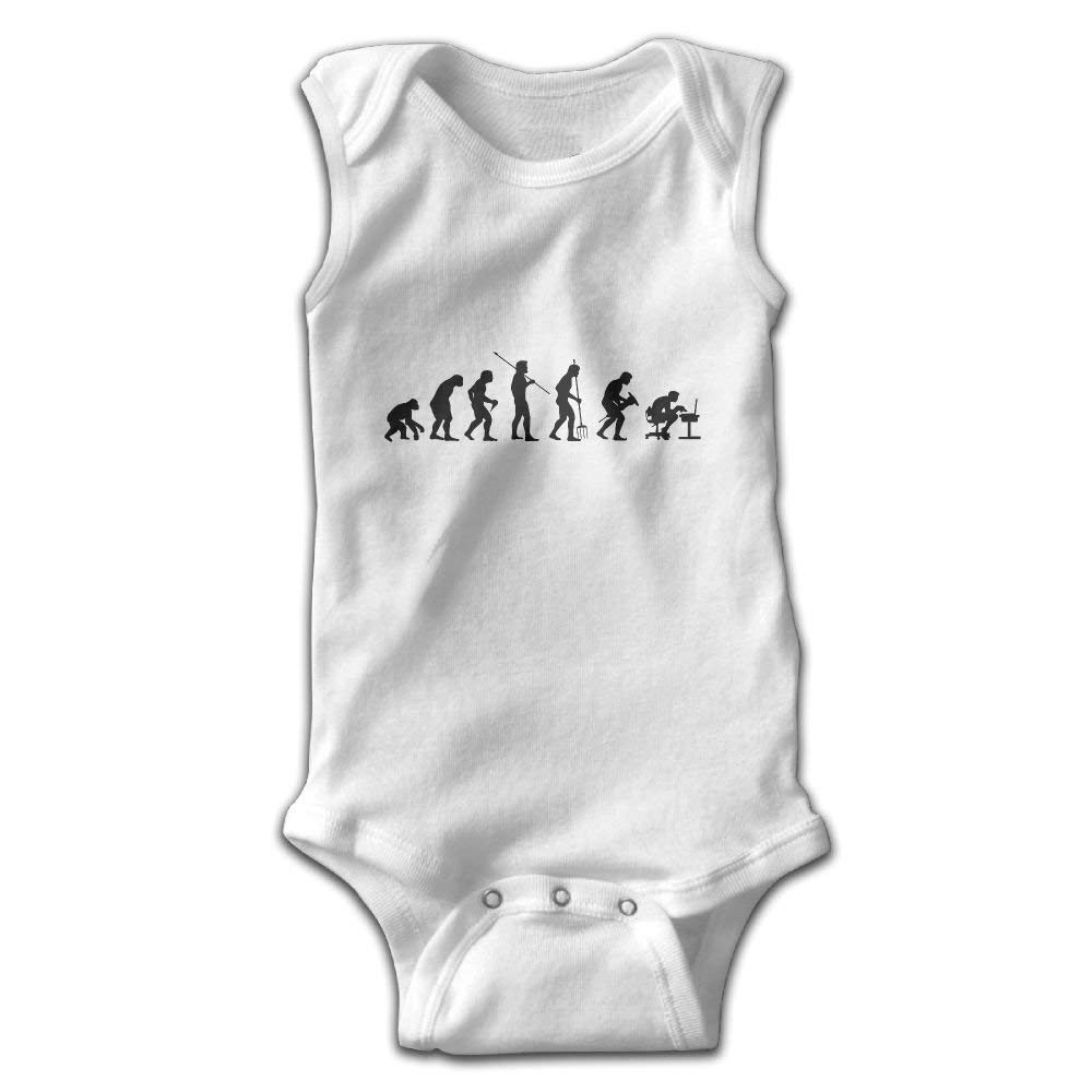 Efbj Infant Baby Girl's Rompers Sleeveless Cotton Jumpsuit,Evolution of Man Computer Bodysuit Summer Pajamas