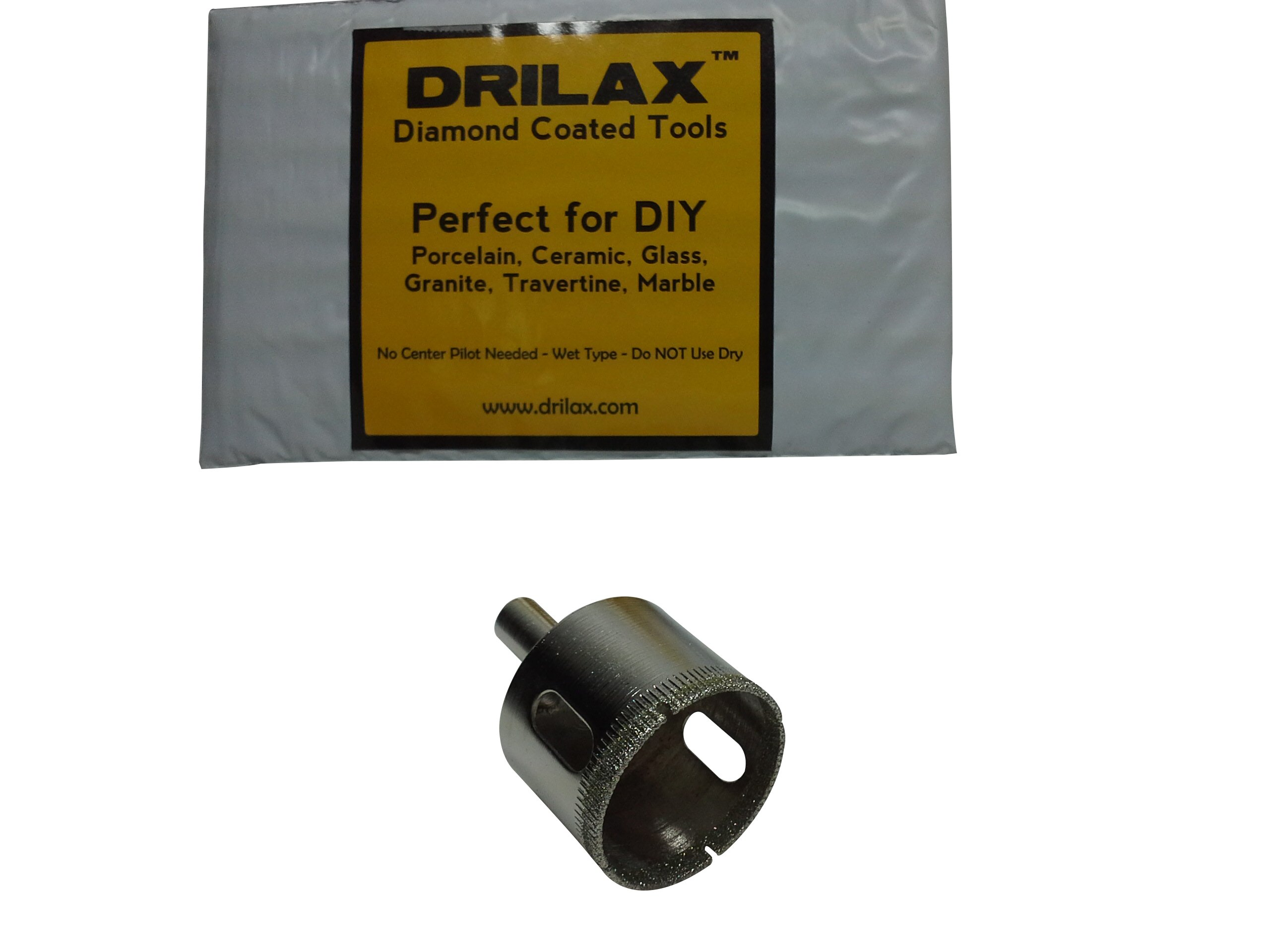 """Drilax 1 5/8 Inch Diamond Hole Saw Drill Bit Tiles, Glass, Fish Tanks, Marble, Granite Countertop, Ceramic, Porcelain, Coated Core Bits Holesaw DIY Kitchen, Bathroom, Shower, Faucet Installation Size 1 5/8"""" Inches"""