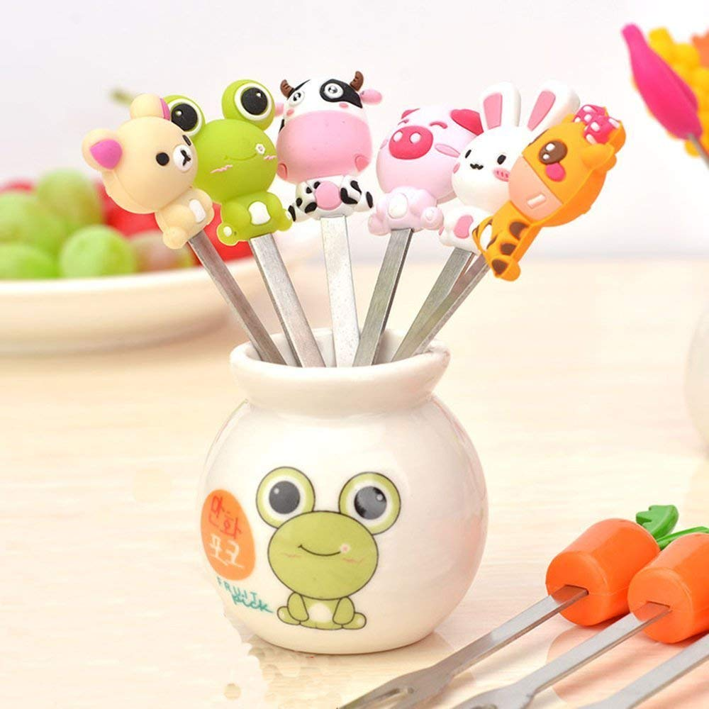 Cute Cartoon Salad Forks Mini Dessert Fruit Forks Holder Stainless Steel with A Holder Silicone Handle Cake Food Pick Fork Set 6 Pcs for Home and Restaurant (Mix Animal)