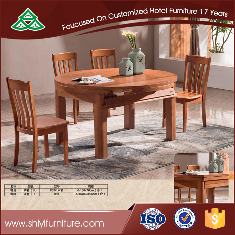 Home furniture large round oak wood extension dining table for dining room