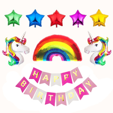 Happy Birthday Banner Foil Star And Rainbow Ballons Unicorn Party Supplies