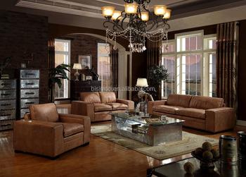 Bon Italian Leather Chesterfiled Vintage Style Sofa Set/Classic Vintage Living  Room Leather Furniture (MOQ