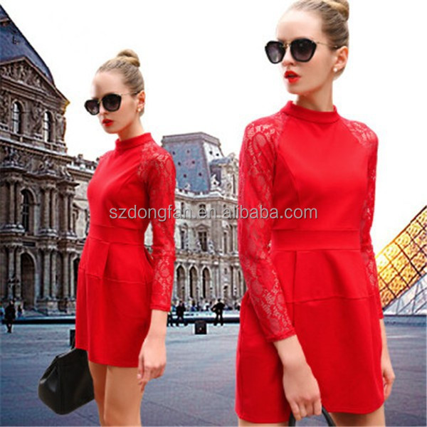 gorgeous evening dress elegant ladies clothes red long sleeve dress
