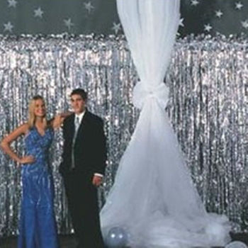 Silver Curtain Metallic Foil Curtain Decorative Accessory Party