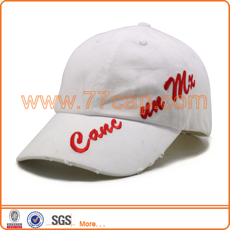 Newest worn-out unstrctured softtextile brush cotton baseball cap with customized logo embroidery