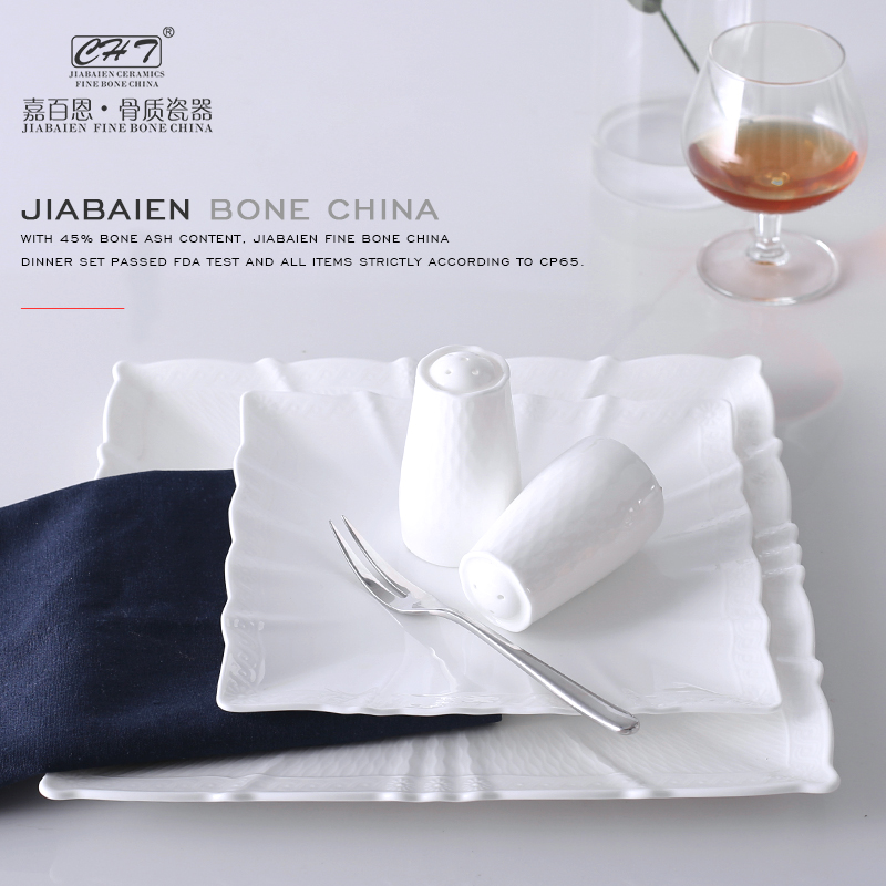 Luxury plain white fine bone china portuguese ceramic modern square dinnerware for sale