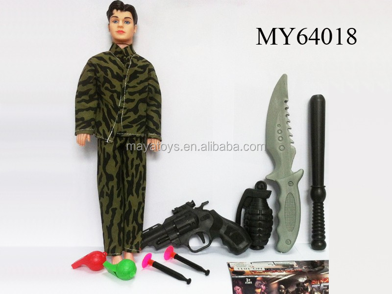 Male barbie doll with police set toy