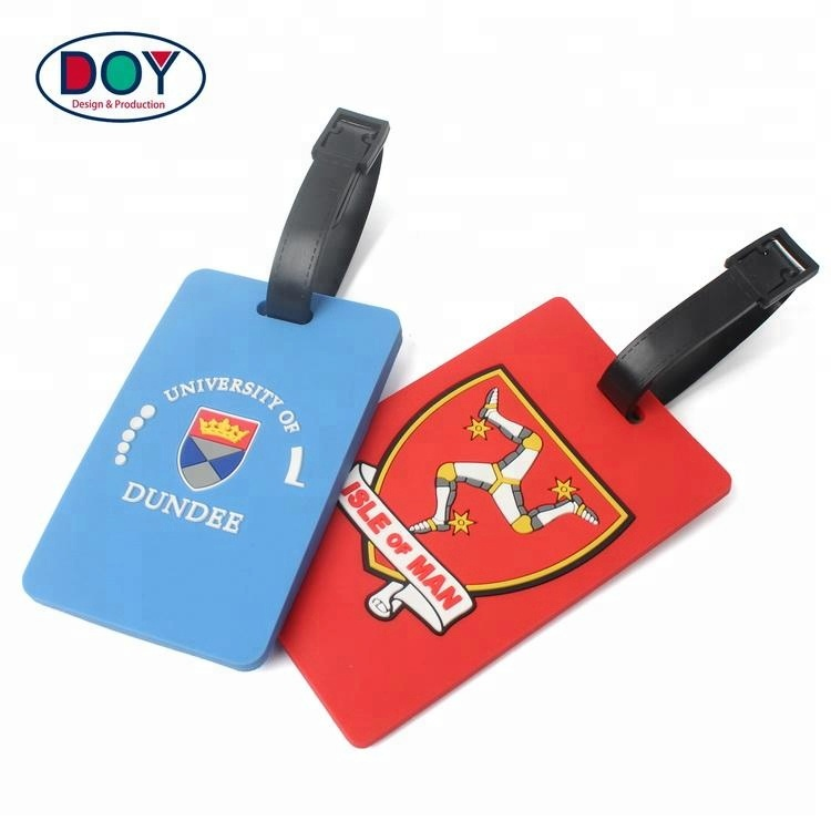 OEM Maker Waterproof Custom 3D Name Logo Soft PVC Rubber Travel Luggage Tags with Plastic Buckle