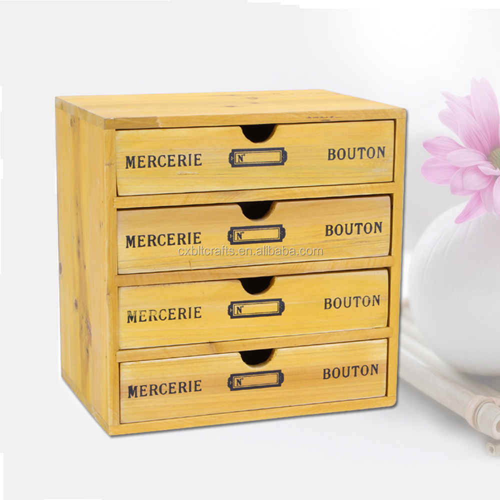 Handmade multilayer vintage style shabby chic design storage wooden sewing box