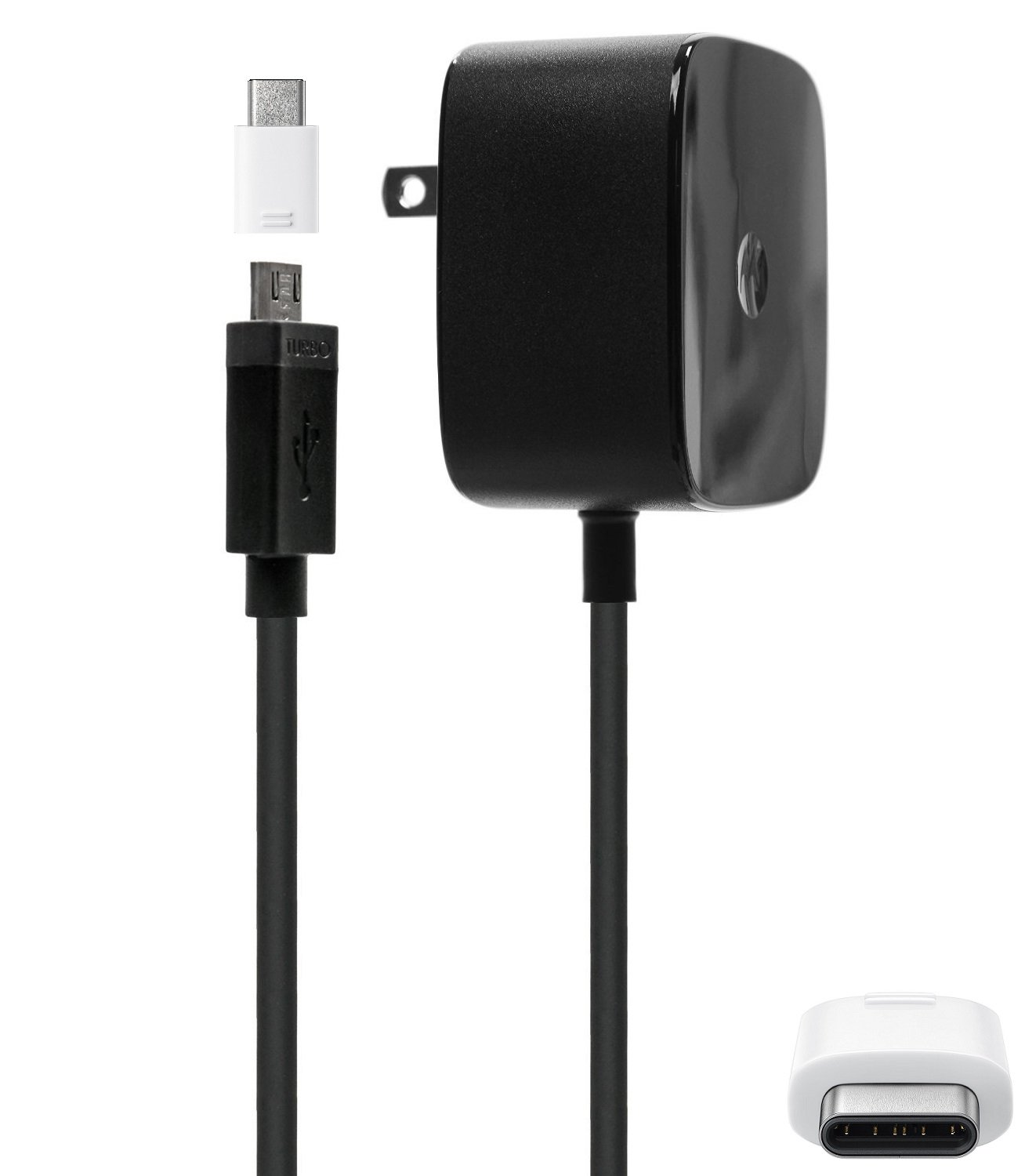 (2 in 1) Official Motorola TurboPower 25W Wall/Travel Charger W/Micro & TYPE C Adapter Stylus
