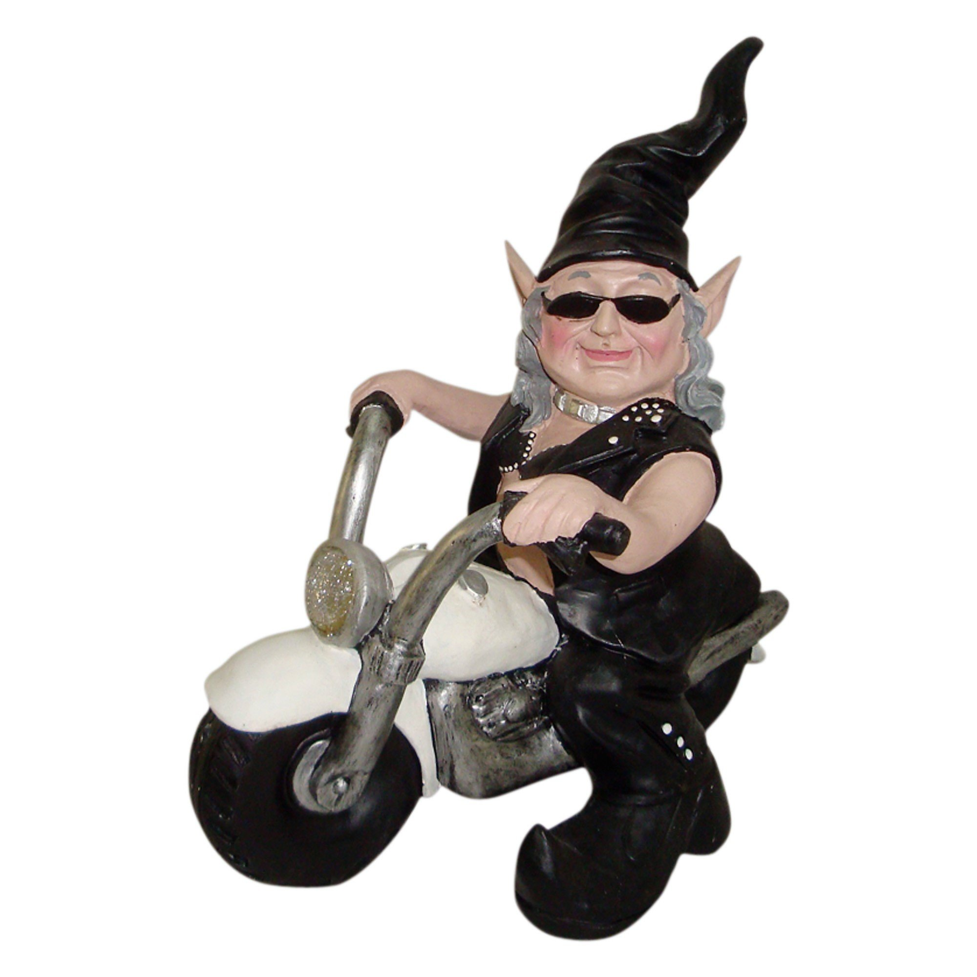 """Nowaday Gnomes Biker Babe the Biker Gnome in Leather Motorcycle Gear Riding Her White Bike Home & Garden Gnome Statue 12"""" H"""