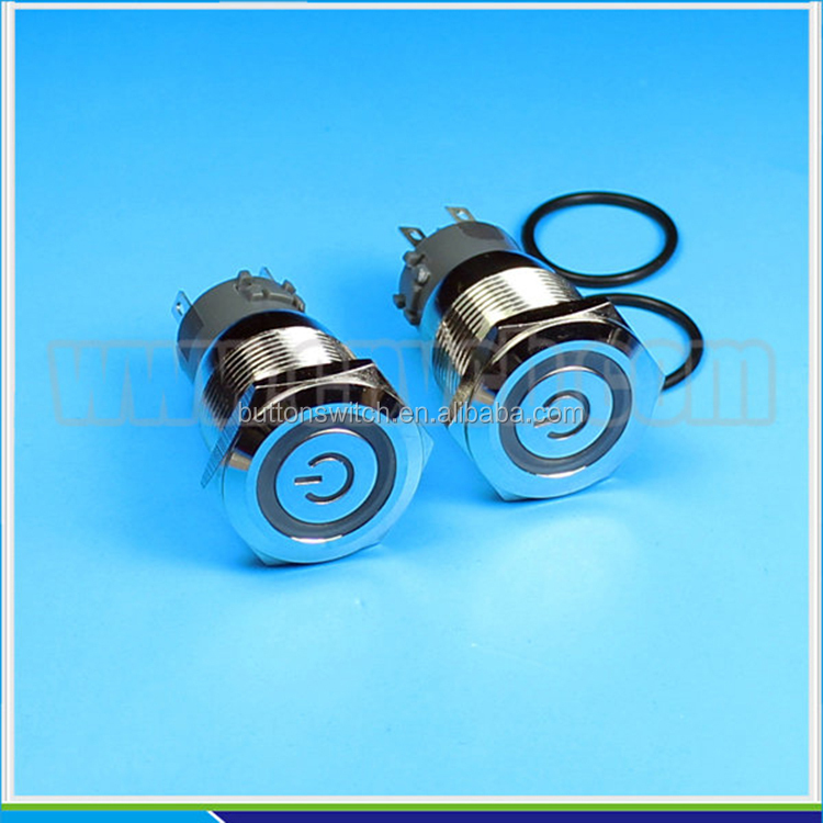 1927 19mm Flat round head momentary ring LED and power symbol pushbutton