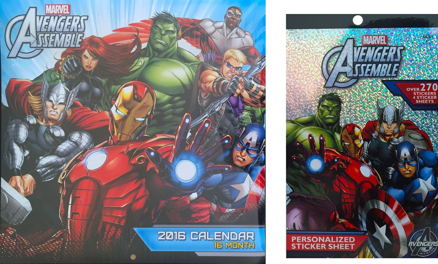 Marvel Avengers Assemble Children's 2016 Calender 16 Month the Perfect Children's Wall Decor with Avengers Assemble Sticker Book 270 Calendar